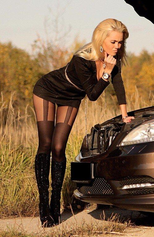 Picture with tags: HD, Interesting, Cars, Skirt, Stockings, Girl