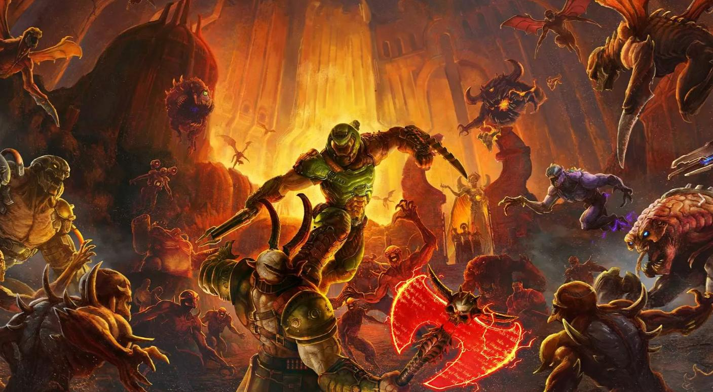 Picture with tags: HD, Doom Eternal, Xbox One, Codes, PlayStation 4, Interesting, Nintendo Switch, Passage, Shooter, PC, Gaming, 50, Recommendations